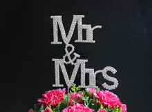 BLING INITIAL Large Diamante Rhinestone Crystal Letter MR&MRS Cake Topper For Wedding Party Decoration 1pcs(China)
