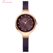 KIMIO Brand Vintage Woman Watches Weave Stainless Steel Mesh Strap Ladies Dress Watch For Women With Box horloge dames montre(China)