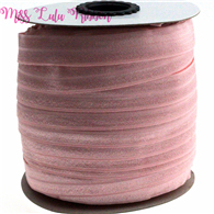 "5/8""16mm solid color matt fold over elastic ribbon pearl pink hair ties headwear sewing elastic band decoration crafts 50 yards(China)"