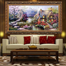 Golden panno,Needlework,DIY DMC Cross stitch,Sets For Embroidery kit 11ct printed cotton thread Garden Cottage Cross-Stitching(China)