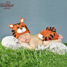 Children's Photography Clothing Baby Hand Knitting Pictures Dress Little Tiger Animal Suit Baby Boy Photography Outfit