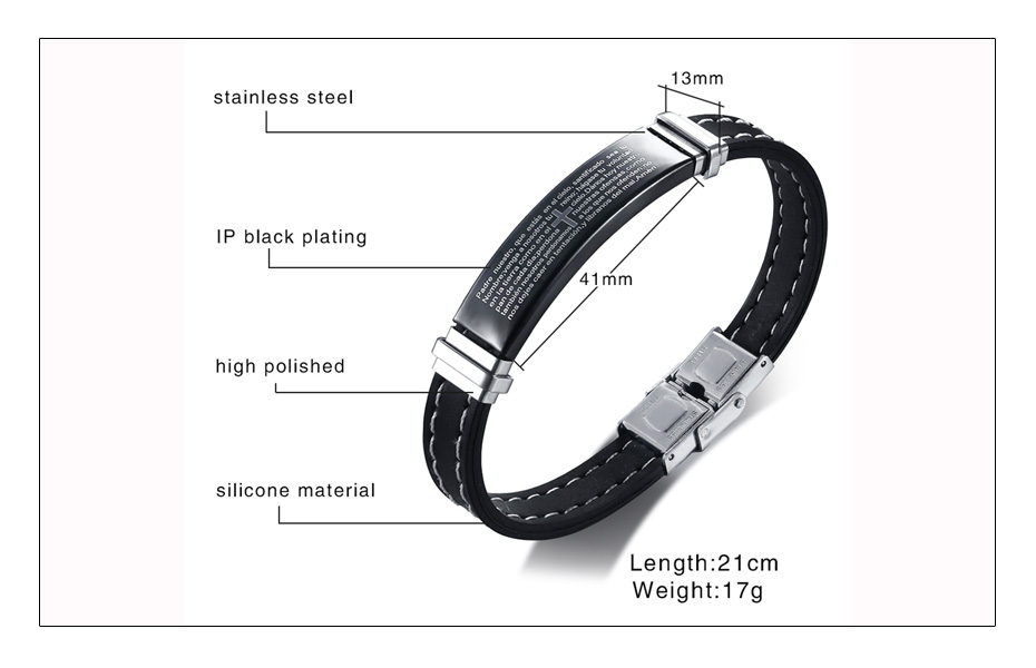 Meaeguet Stainless Steel Cross Symbol Bible Charm Bracelet Men High Quality Black Silicone Wristband Religious Prayer Jewelry (5)