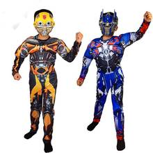 Kids Bumblebee Optimus Prime Muscle Costume Children Muscle Halloween Transfor Costume With Mask(China)