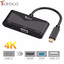 TOFOCO 4K*2K 3 IN 1 USB-C to HDMI VGA with Audio Adapter Thunderbolt 3 Port Compatible+USB 2.0 Converter For Macbook Samsung S8(China)