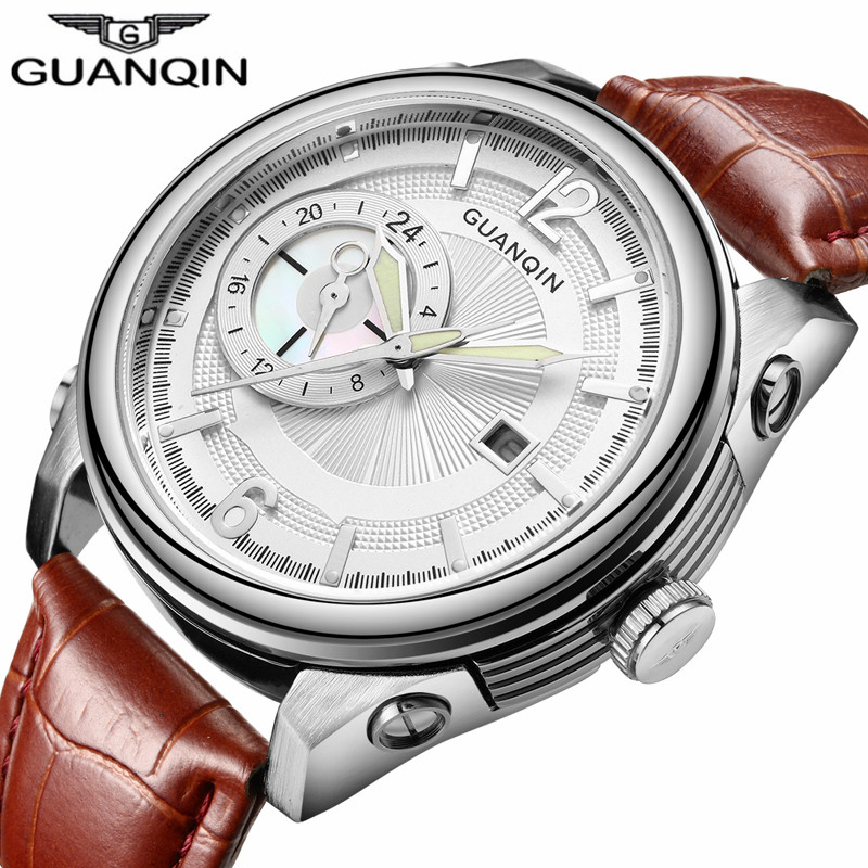 Brand GUANQIN Men Watch Sport Big Dial Quartz Watch Mens Waterproof Leather Strap Wristwatch Reloj Relogio Masculino<br>