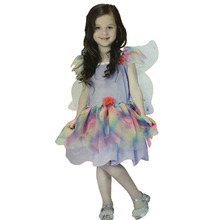 Free shipping ,children girl purple rainbow Genius fairy tinkerbell dress with wing,cosplay party maiden costume  .