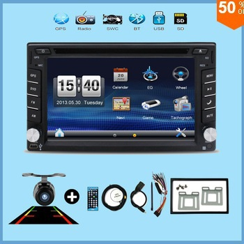 "2017 New! Touch Screen car dvd player gps navigation USB SD Bluetooth FM 6.2"" 2din in dash TFT support rear view camera input(China)"