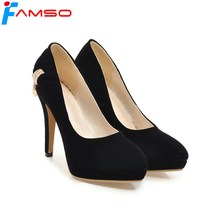 FAMSO 2018 Plus Size 34-43 New Spring Autumn thin Heels Pumps Black red Rhinestone Pumps Pointed Toe Sexy Female Designer Shoe(China)