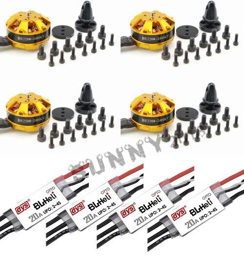 4pcs DYS brushless motor 2204 2400KV+ 4pcs DYS Mini 20A BLHeli ESC for DIY FPV drones Q250 F330 quadcopter<br><br>Aliexpress