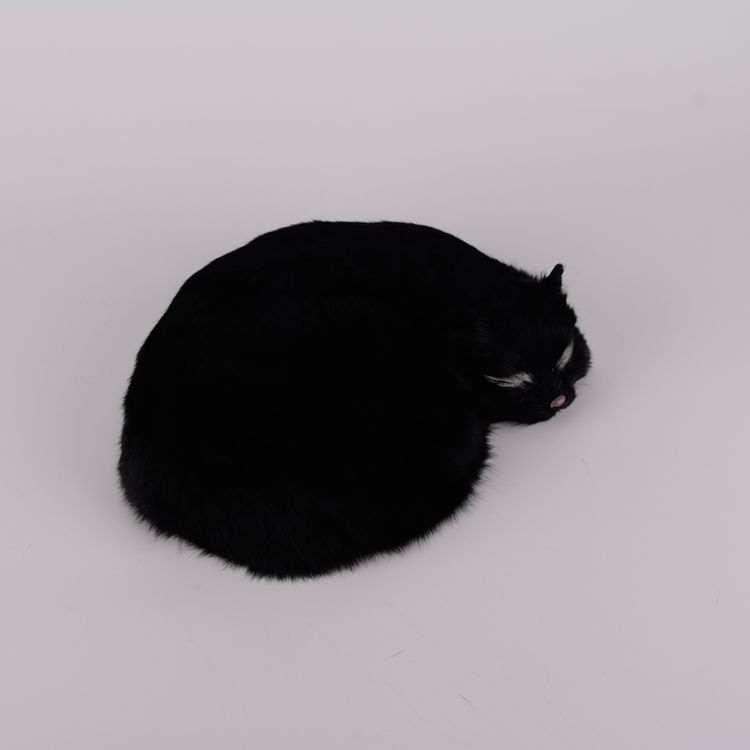 lovely simulation black cat plastic&amp;fur sleeping cat model gift 27x6x20cm a95<br>