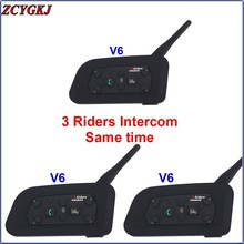 2017 NEW 1200M 3 Riders Talking 3 *V6 BT Interphone at the same time for Judge Bike Wireless Bluetooth Headset Intercom(China)