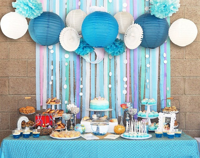 Blue White Wedding Theme Background Wall Party Decor Cut Out Paper Fans Lanterns Crepe