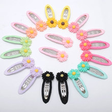 1Pair Multi Colored Daisy Snap Clip Barrettes Baby Toddler Girls Hairpins With Flower Children Hair Accessories Hot Sale