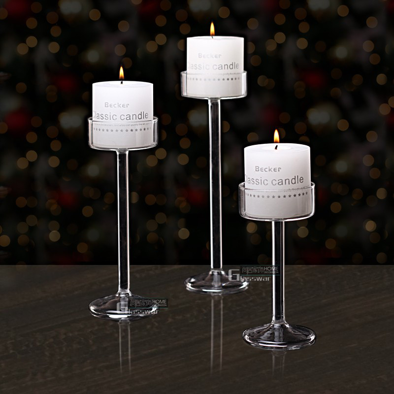 Newest Classic Glass Candle Holder Wedding Bar Party Home Decor Decoration Fashion Candlestick Goblet Candlesticks free shipping(China)