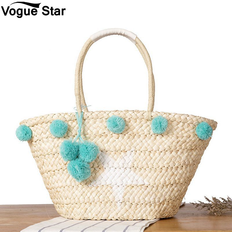 Glorious New Natural Ladies Tote Large Handbag Hand-woven Big Straw Bag Round Popularity Straw Women Shoulder Bag Beach Holiday Bag Women's Bags