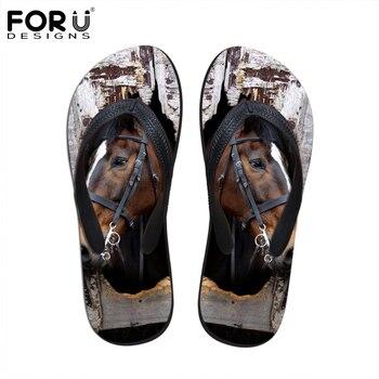 FORUDESIGNS Moda Verano Chanclas de Los Hombres 3D Animales de Impresión Zapatillas De Goma Fresco Caballo Loco Hombre Sandalias Planas Zapatos de la Playa hombre