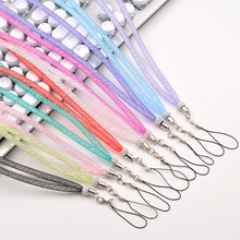 Bling Diamond Phone Lanyard Straps Candy color Shiny Cell Phone Charm Long Neck Mobile Chain telephone belt hang chain Bracelet