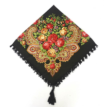 Fashion Russian Women Tassel Square Scarf Shawl Lady Printed Floral Short Tassel Headband Retro Cape Wrap Scarves 90*90cm YG584(China)
