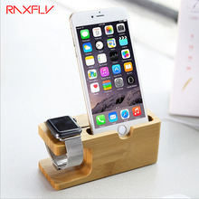 RAXFLY For iPhone 7 6 6s Plus 5 5s SE Charging Holder Fashion Natural Bamboo Socket Real Wood Bamboo Phone Holder For iWatch