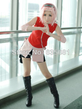Cos Cosplay Naruto Haruno Sakura Cosplay Costume Clothing Set Red(China)