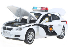 New police M6 car model 1:32 ABS Alloy diecast car model with sound flashing alarm lights collections toy vehicels