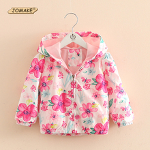 2017 New Spring&Autumn Children Coats Fashion Floral Girls Hooded Jackets 2-7T Long Sleeve Baby Outerwear for Kids Girls Clothes