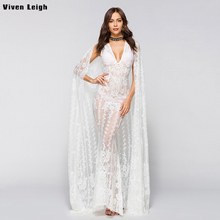 Buy Viven Leigh Sexy White Perspective Lace Dress Women 2018 Summer Sleeveless V Neck Party Dress Elegant Maxi Long Dress Vestidos for $22.39 in AliExpress store