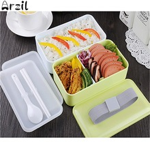 Japanese Bento Lunch Box School Microwaveable Food Container with Insulated Lunch Tote Bag Lunchbox With Chopsticks and Spoon(China)