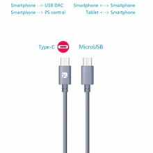 Type-C to MicroUSB OTG Cable for USB DAC, Nexus 6P/5X, Zuk, Xiaomi, Meizu, 12″ grey