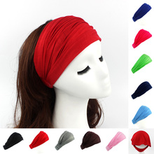 Ladies cotton Hairband Head Band Headband Wrap Neck Head Scarf Cap 2 in 1 Bandana(China)