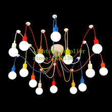 Colorful Pendant Lamp 10 Heads Multi-colored Silicone E27 Art Pendant Lights For Modern Bar Restaurant Bedrooms Shopping Mall