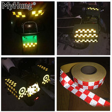 5x300cm Chequer Reflective Safety Warning Conspicuity Tape Marking Film Car Sticker for Industry Transport Contruction Range
