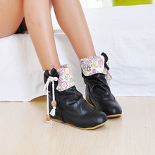 2014 fashion snow boots flat boots wild cute bow student autumn and winter boots naked boot SIZE 34-43  XY135