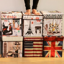 AOMINRU   Multi - function can seat storage box creative storage stool coated non - woven products box folding stool