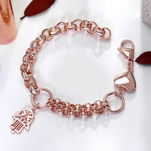 Beautiful rose gold color Stainless Steel charms Bracelet for women Fashion hand heart chain link Bracelets & Bangle(China)
