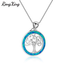 RongXing Unique Circle Tree Blue Fire Opal Pendants Necklaces Women 925 Sterling Silver Filled Necklaces Fashion Jewelry NL0124(China)