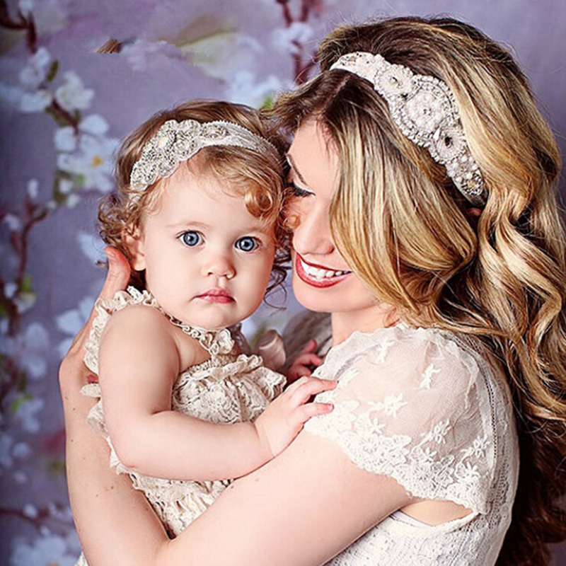 2pcs Fashion Exquisite Rhinestone Head Jewelry Women Children Hot DIY Created Diamond Hair Band Mother And Kid Headbands 80AA565<br><br>Aliexpress