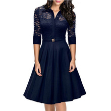 Dark Blue Half Sleeves Formal Office Business Styles Casual Dress 2016 Woman New Dress Clothes L36076-2