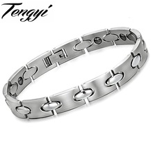 Trendy 316L Titanium Steel Germanium Health Magnetic Therapy Jewelry Male Jewelry Health Bracelet Best Price TY 8017(China)