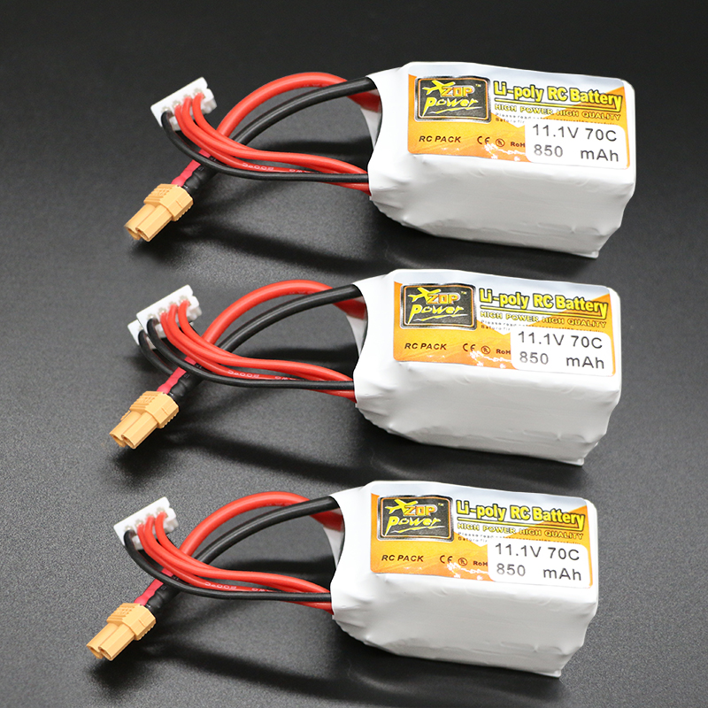 3PCS ZOP 3s lipo battery 11.1V 850mah 70C  For Quadcopters Helicopters RC Cars Boats High Rate batteria lipo car parts<br>