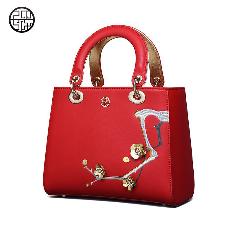 2017 Pmsix new red leather leather handbags fashion dinner Diana bag shoulder diagonal embroidered Msbag<br><br>Aliexpress