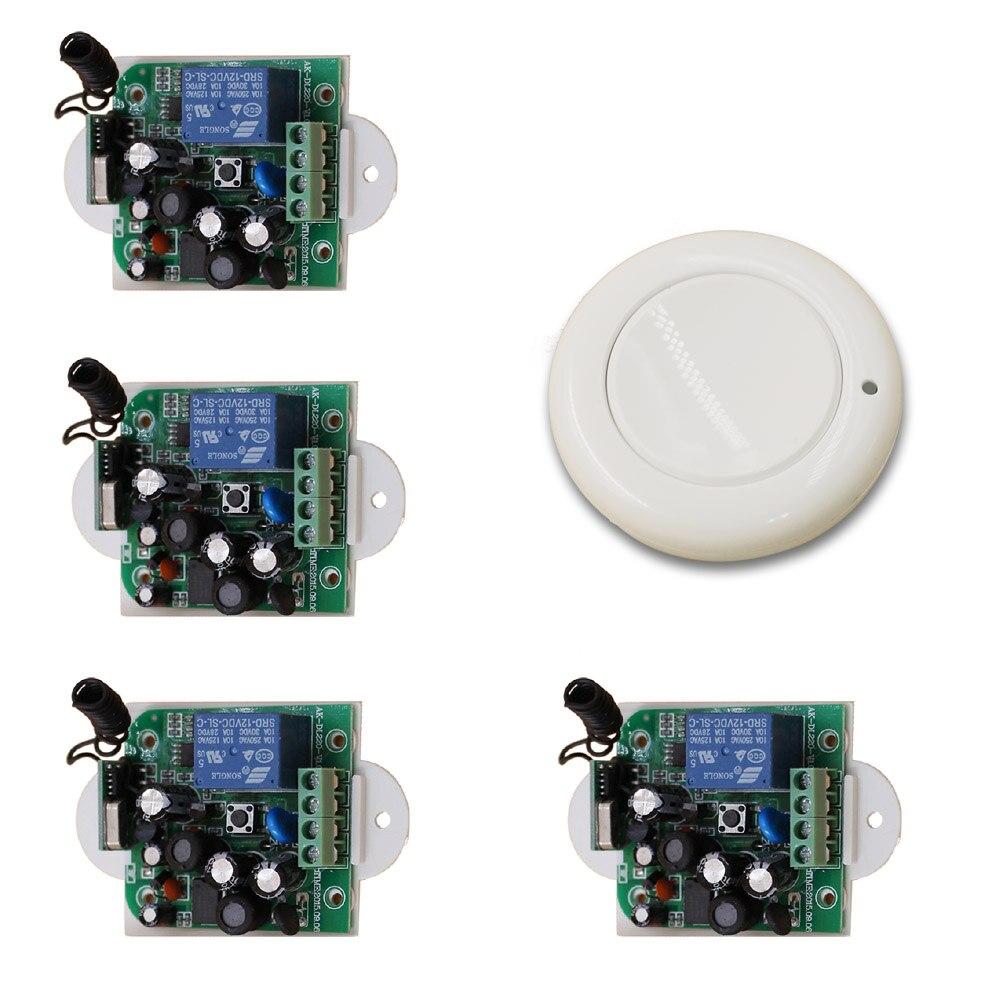 New 85V 110V 120V 220V 250V 1CH Radio Controller RF Wireless Relay Remote Control Switch 315MHZ 433MHZ 1 Transmitter+4 Receiver <br>