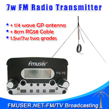 Genuine FU-7C 7W FM Transmitter radio broadcast+1/4 wave gp antenna+Power supply Complete Set(China)