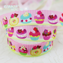 "7/8"" (22mm) printed grosgrain pink candy cake ribbon colored decoration ribbons"