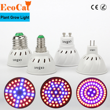 ECO Cat 60LEDs Full Spectrum E27 E14 GU10 MR16 Faster Led Grow Light Spot Lamp UV IR Red Blue For Flower Plant Hydroponics Bulb