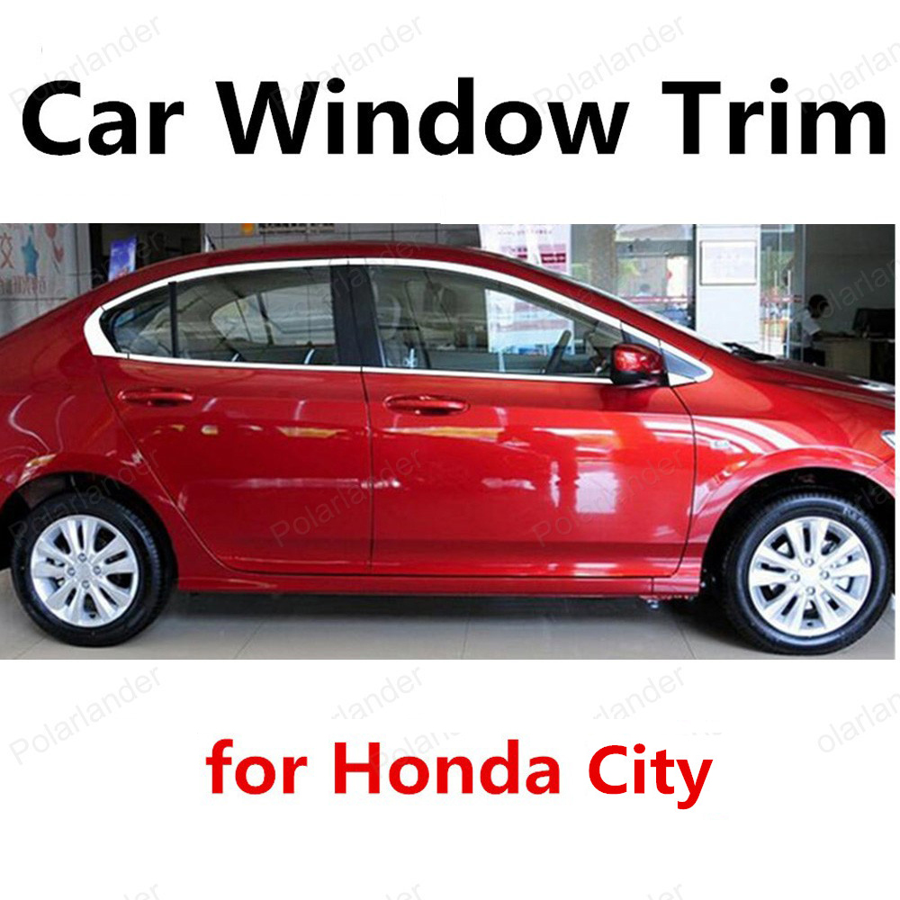 hot sell For Honda City Stainless Steel Decoration Strip Car Accessories without column Car Styling Window Trim <br><br>Aliexpress