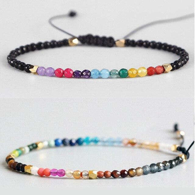 Adjule Lucky Natural Stone 7 Chakras Bracelet Yoga Pulsaera Meditation Pulseira For Women Reiki