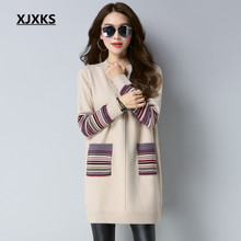 XJXKS Casual Wool Sweater Dresses 2017 New Selling Women Jumper Comfortable Striped Sleeve Full Sleeve Long Sweaters(China)