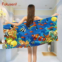 FOKUSENT Polyester Cotton Microfiber Towel Printed Colorful Marine Fishy Coral Reefs Quick Drying Soft Beach Towel for Travel(China)