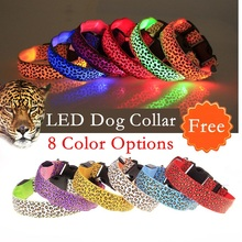 Leopard spots Pet Dog Collar Leopard Nylon Safety LED Collar Flash Light Necklace For dog Free Shipping(China)